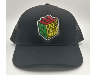 HF Cube Embroidered Cap - Black-Black Snapback Trucker Cap
