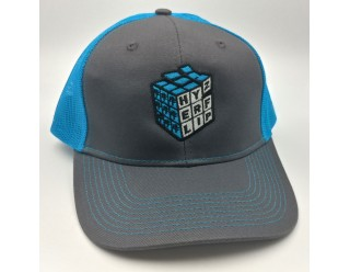 HF Cube Embroidered Cap - Neon blue - Grey Steel Snapback Trucker Cap