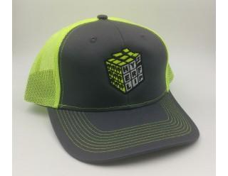 HF Cube Embroidered Cap - Neon Yellow - Grey Steel Snapback Trucker Cap