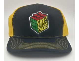 HF Cube Embroidered Cap - Yellow-Black Snapback Trucker Cap
